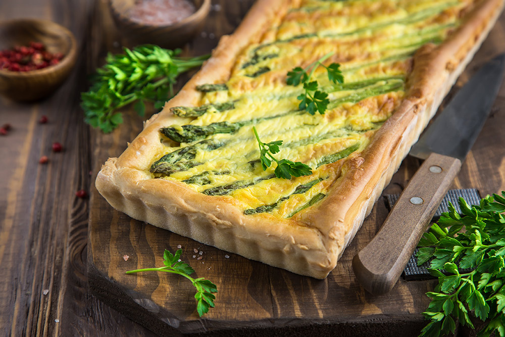 Nortons Soft Cheese and Asparagus Tart